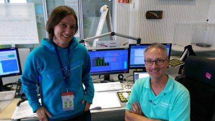 Watching Rosetta data coming down at ESOC.
