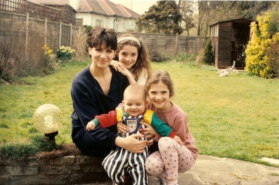 Mama Botziou, me, my sister and bald baby brother -1995
