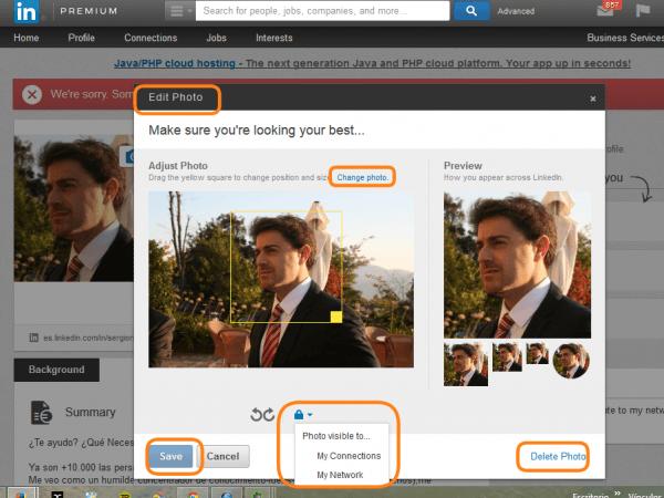 Editando nuestra foto del Perfil de Linkedin e-Kikus.com
