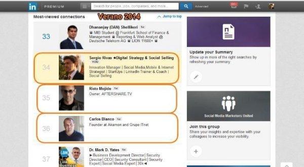 Posicion Linkedin segun las visitas, de entre mis 12.000 -por encima de Risto Mejide