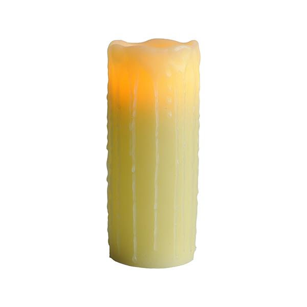 Stämningsfullt Vaxljus Gul. Rinnande Stearin. 20cm. LED