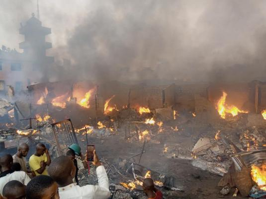 Traders weep as fire razes auto spare parts market in Ibadan