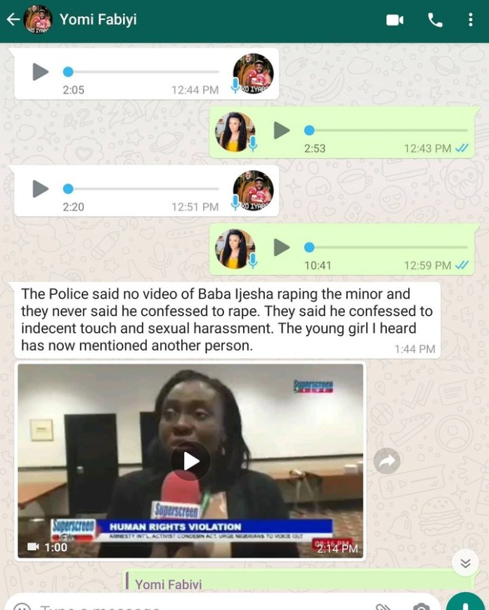 After Yomi Fabiyi Shared Chat With Iyabo Ojo, The Actress Reacts With Full Chats To Counter His Claim