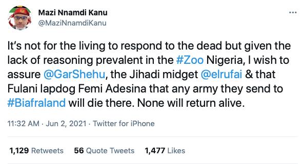 Nnamdi Kanu Declares War On Nigerian Army Over Buhari's Threat