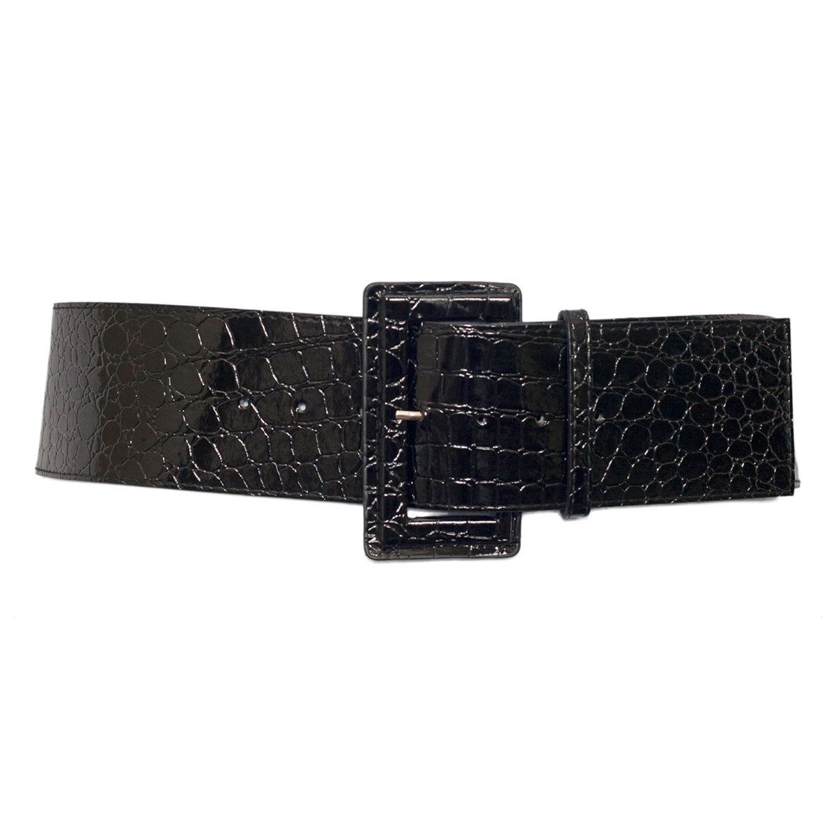 Plus Size Croco Print Patent Leather Belt Black Photo 1