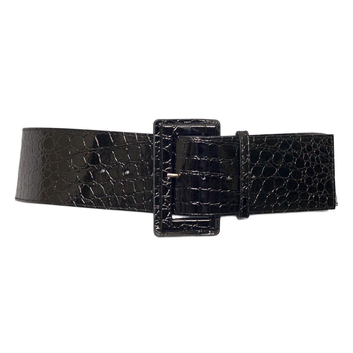 Plus Size Croco Print Patent Leather Belt Black Photo 1
