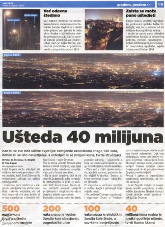Članak o svjetlosnom onečišćenju u Zagreb.hr novinama