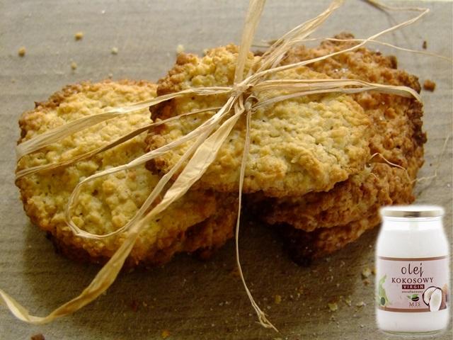 ciasteczka owsiane z masłem kokosowym