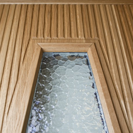 Ytterdörr Arild 115S G55 i ek, detalj glasöppning med cotswold glas