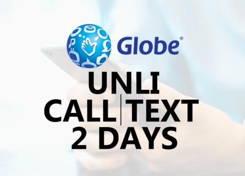 globe unli call and text for 2 days