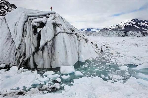 EIS field technician, Adam LeWinter on iceberg, Columbia Bay, Alaska; June 19, 2008.