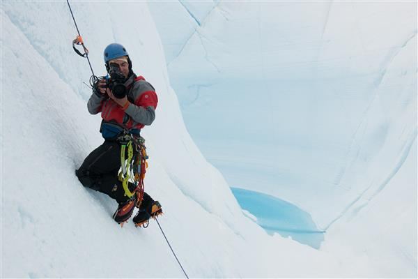 Chasing Ice Director Jeff Orlowski films in Survey Canyon, Greenland, in the summer of 2009.