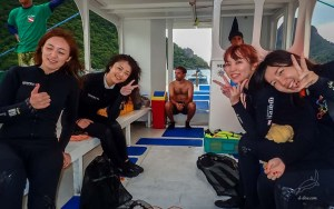 Scuba divers from Japan, just certified PADI Open Water