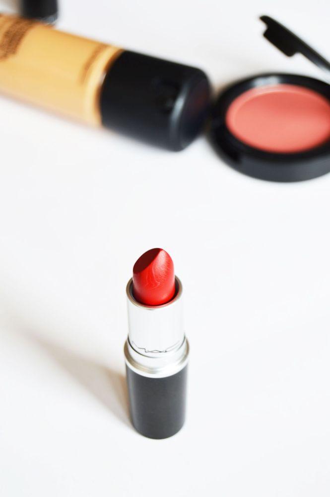 Mac Haul with Mac Retro Matte Lipstick in Ruby Woo, MAC Sheertone Shimmer Blush in Peachykeen and MAC Pro Longwear foundation