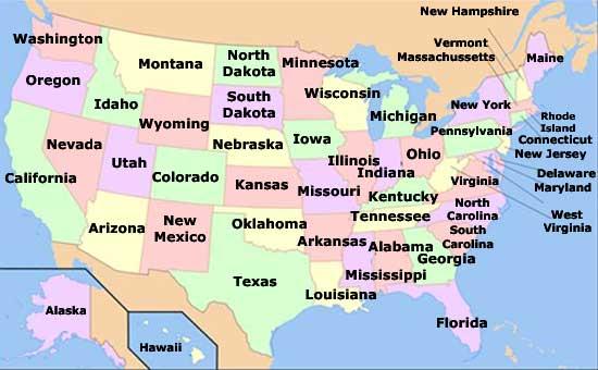 Mapa de los estados de Estados Unidos de América