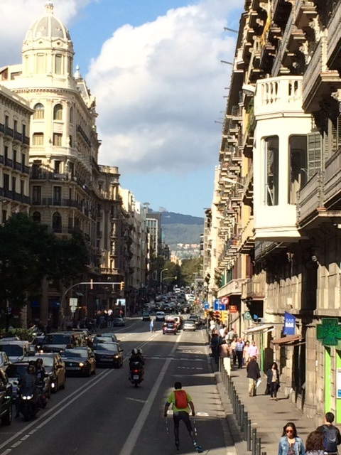 Street scene from a tour bus in beautiful Barcelona.
