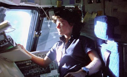 NASA handout photo of Sally Ride aboard the Challenger