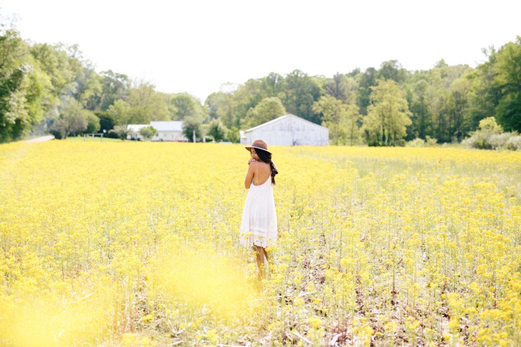 Yellow Flower Field | Free People Inspired | Country Boho | Country Photo Inspiration | via elanaloo.com