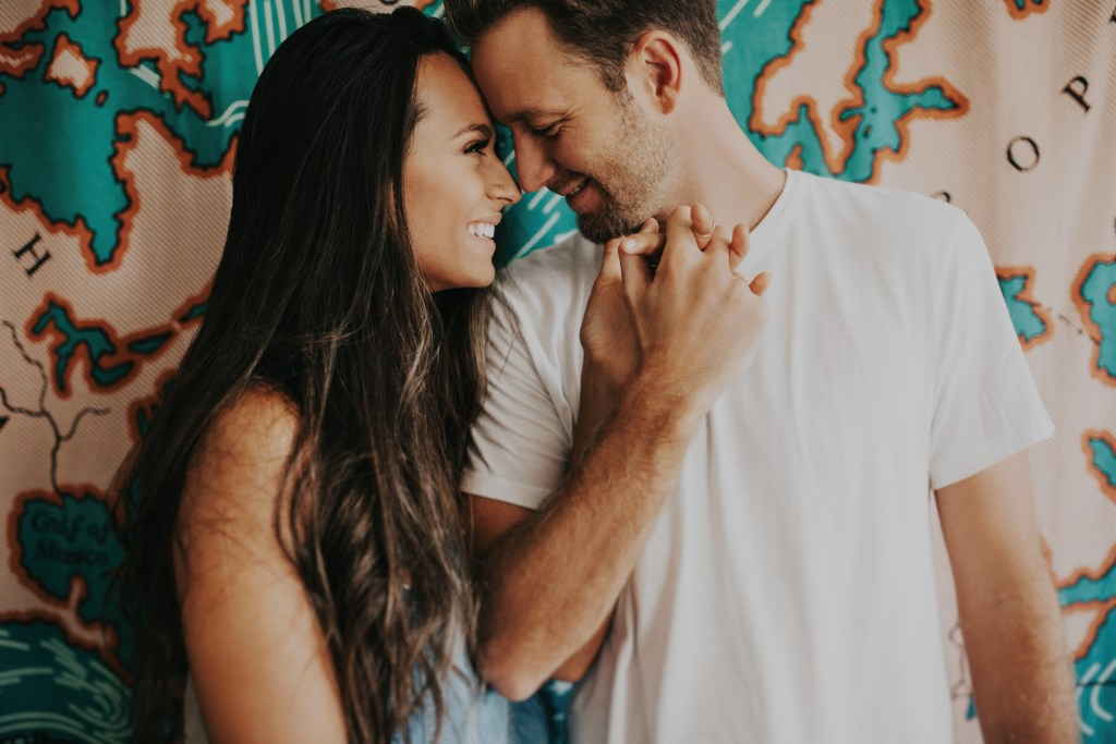 Home is a Feeling   Couple In Love   In Home Session by India Earl   India Earl Photography   Engagement Photo Inspiration   In Home Portrait Session   Trendy Couple   Urban Outfitters Map Tapestry   Map Tapestry   Map Home Decor via @elanaloo elanaloo.com