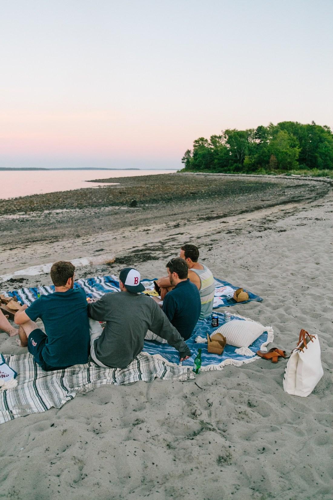 How To Host An Intimate Beach Picnic | Beach Dinner | Beach Fire | Intimate Beach Side Evening | Camden, Maine | Things to do in Camden, Maine | Gorgeous Styled Beach Picnic | ESCAPE ForestBound Bag | Round Beach Towel | Fun Beach Fire With Friends | Beach Adventure via @elanaloo + elanaloo.com