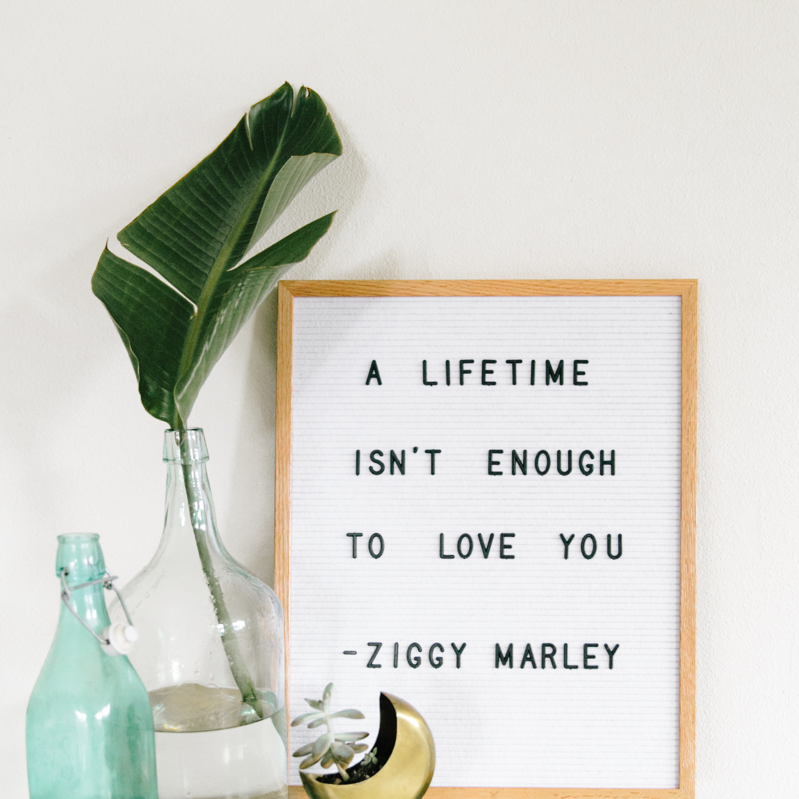 Letterfolk Board | A Lifetime Isn't Enough To Love You | Ziggy Marley Quote | Home Inspiration | Home Renovation via @elanaloo + elanaloo.com