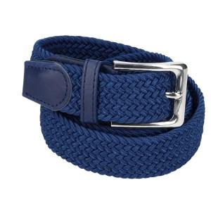 Gevlochten elastische riem, stretch riem heren en dames donker blauw voor