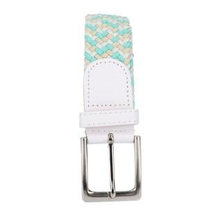Gevlochten elastische riem, stretch riem heren en dames driekleurig turquoise wit beige