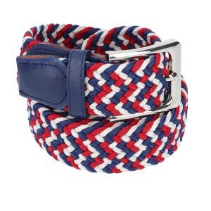 Gevlochten elastische riem, stretch riem heren en dames driekleurig wit baluw rood voor