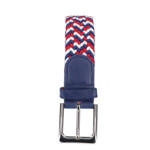 Gevlochten elastische riem, stretch riem heren en dames driekleurig wit baluw rood
