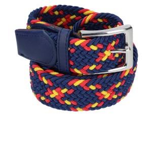Gevlochten elastische riem, stretch riem heren en dames indianer blauw geel rood voor