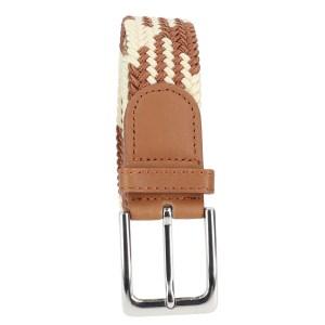 Gevlochten elastische riem, stretch riem heren en dames indianer design beige bruin