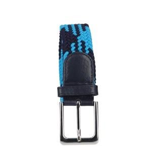 Gevlochten elastische riem, stretch riem heren en dames indianer design lichtblauw marineblauw