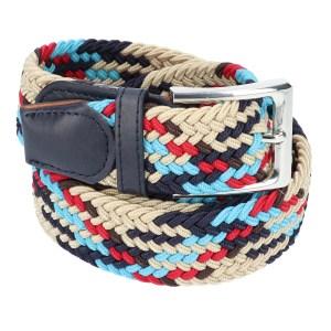 Gevlochten elastische riem, stretch riem heren en dames indianer design rood lichtblauw donkerbruin marineblauw beige voor