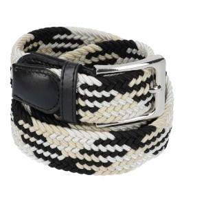 Gevlochten elastische riem, stretch riem heren en dames indianer design zwart wit beige voor