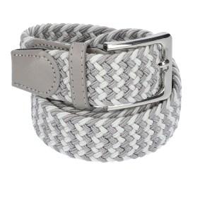 Gevlochten elastische riem, stretch riem heren en dames tweekleurig grijs wit voor