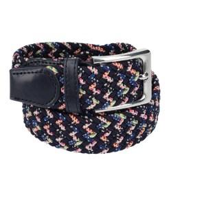 Gevlochten elastische riem, stretch riem heren en dames tweekleurig marineblauw met stippen marineblauw gesp voor
