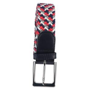 Gevlochten elastische riem, stretch riem heren en dames vierkleurig rood grijs marineblauw wit