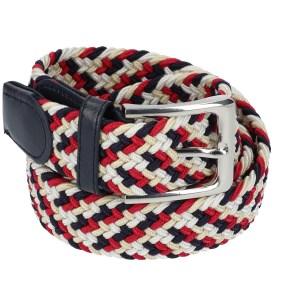 Gevlochten elastische riem, stretch riem heren en dames vierkleurig wit beige rood zwart voor