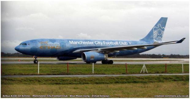 A330 de Etihad con los colores del Manchester City