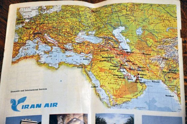 Mapa de rutas de Iran Air en 1973 (Caribb Flickr)