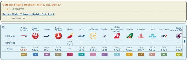 vuelo directo Madrid Narita Iberia