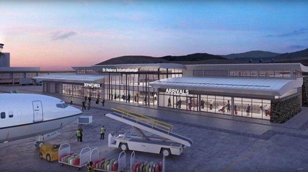 Recreación de lo que iba a ser la terminal de pasajeros de Santa Helena... por ahora vacía (Foto: Saint Helena airport)