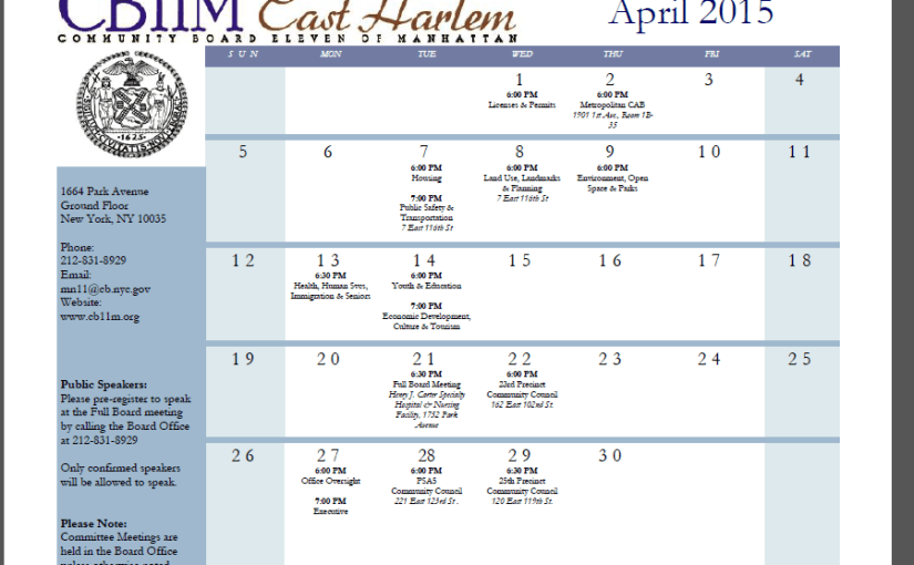 Community Board 11 April Calendar