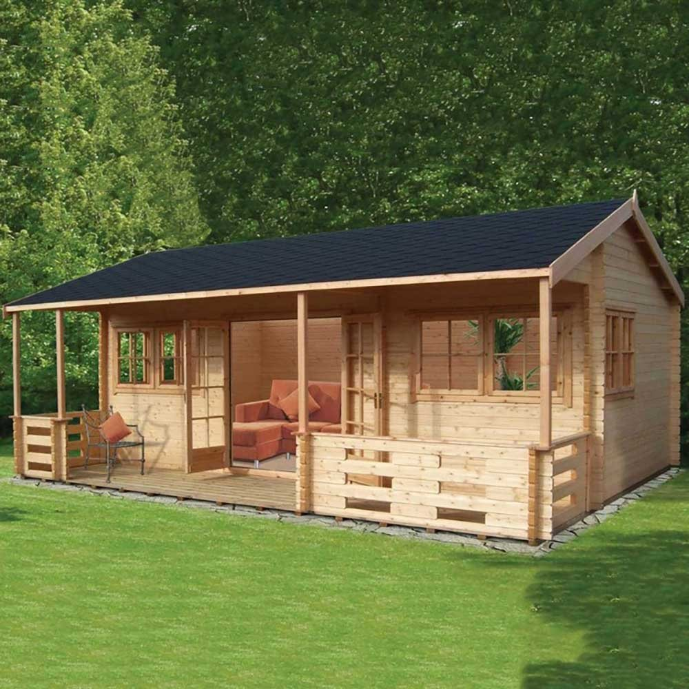Shire Kingswood Log Cabin 18g X 20ft 44mm To 70mm Logs
