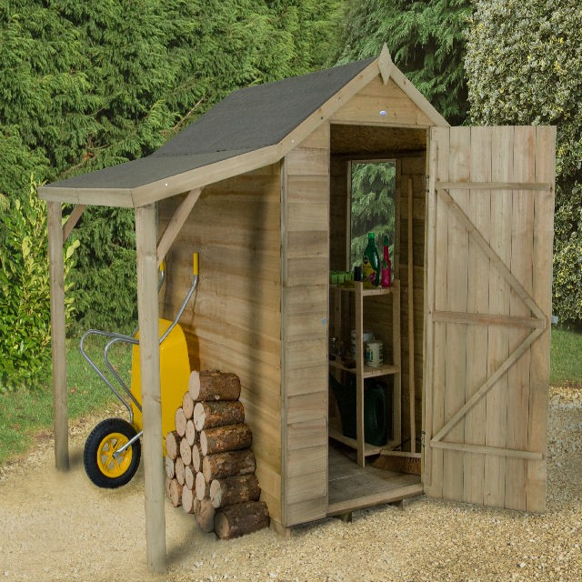 Forest Overlap Apex Shed Pressure Treated With Shelter 6x4