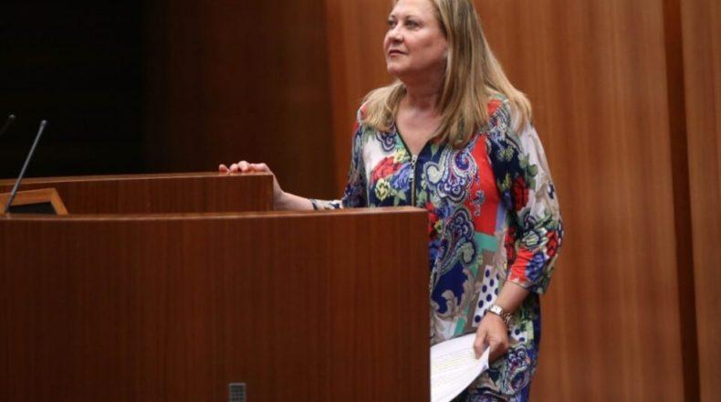 La consejera de Economía y Hacienda, Pilar del Olmo, durante el Pleno de las Cortes de este miércoles