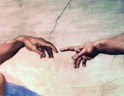 hands of god and adam 400 - La gran importancia de las redes de madres y padres. La revolución social de los foros de crianza natural en internet