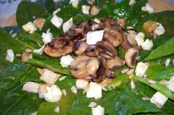 ensaladaespinacas2 - Ensalada de espinacas crudas con champiñones, queso de cabra y vinagreta de miel