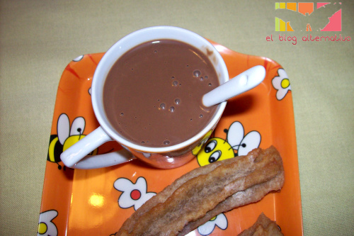 chocolate taza - Chocolate a la taza con leche vegetal