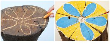 troncos jardin21 - Troncos pintados para el jardín